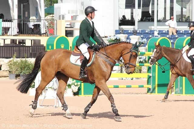 Irish rider Richie Moloney looks sharp in hunter green.