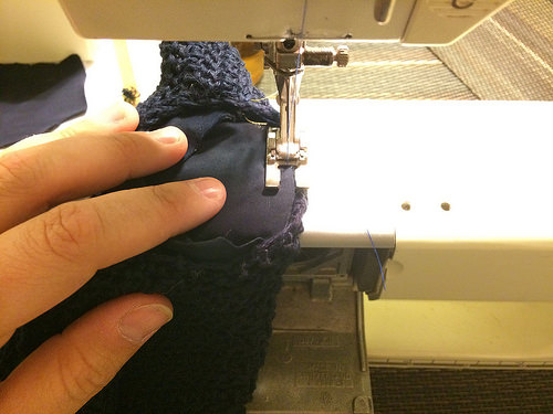 Sewing from the inside of the bonnet