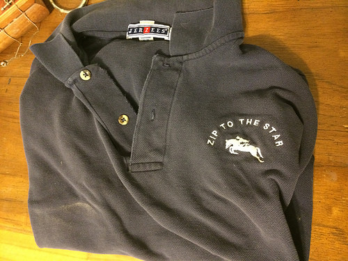 Once upon a time it was cool to get stuff embroidered with your horse's show name... I still have mine :)