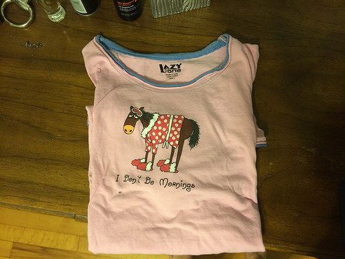 """This is a horse pajama t-shirt that says """"I don't do mornings"""".  It has matching boxers, and my mother gave it to me ;)"""