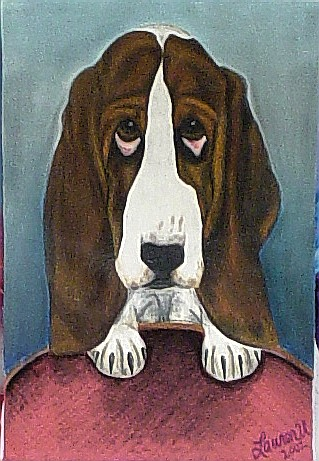 Basset Hound mixed media