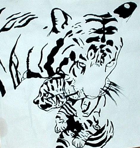 Tiger pen & ink