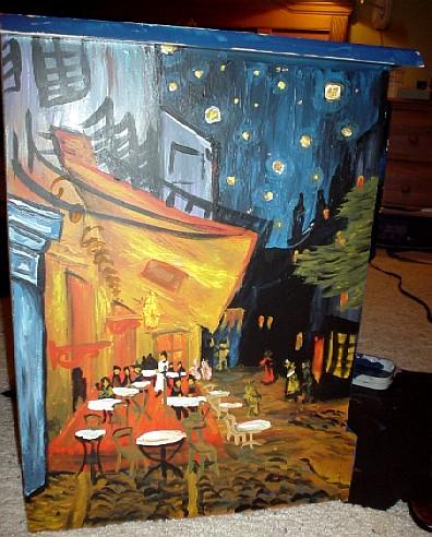 Van Gogh nightstand.  The top was Starry Night