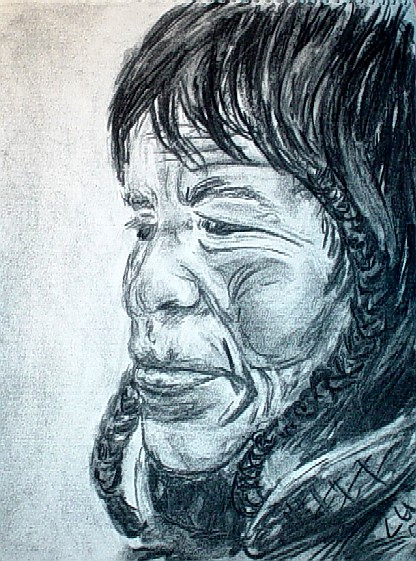 Charcoal sketch of Native American