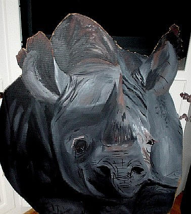 Almost life size Rhino on cardboard
