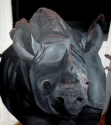 Almost life size Rhino on cardboard