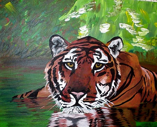 Acrylic tiger with a slightly smushed face