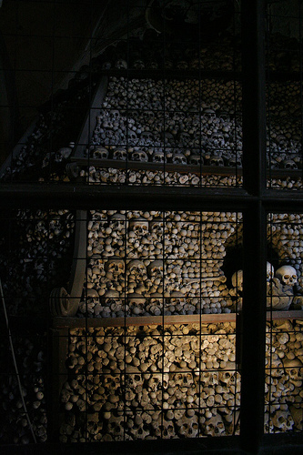These are stacks of skulls, and there are two side rooms like this.