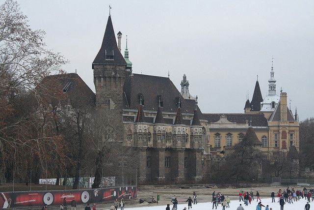Yes, that's an ice rink in front of a castle