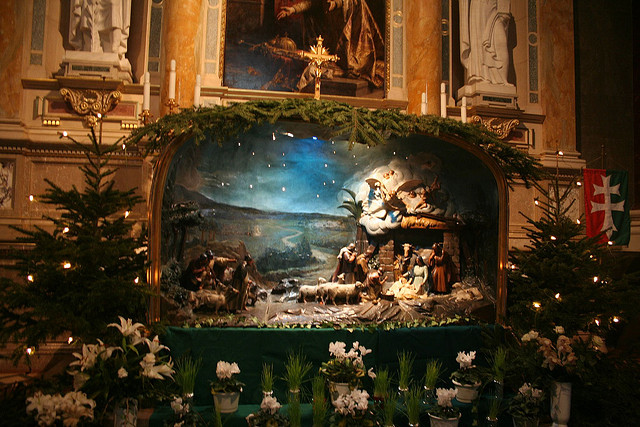 Christmas nativity scene at an altar