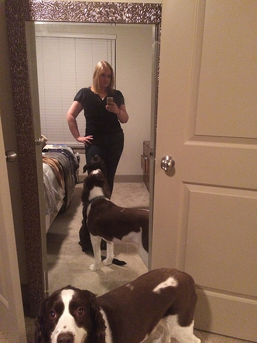 "This selfie says, ""I'm a crazy dog lady!"""