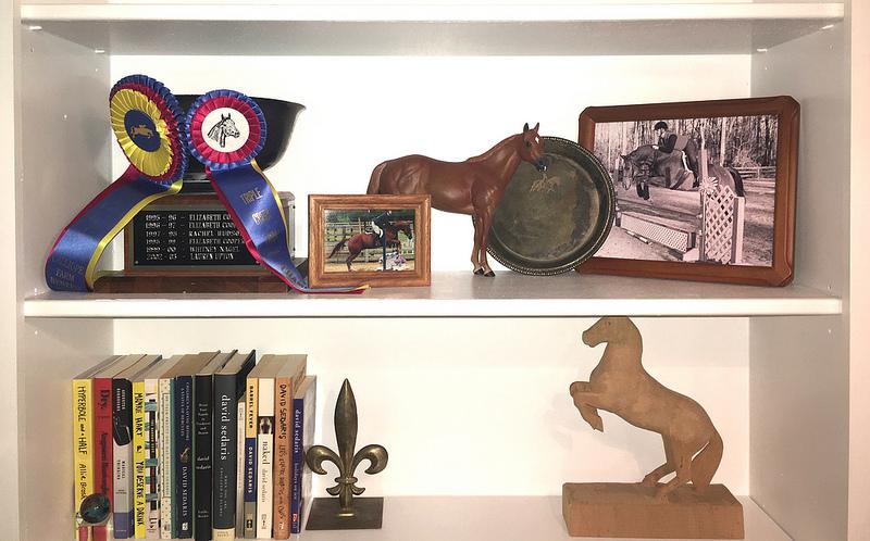 Hunter/Jumper Elvis above the Creative Nonfiction Shelf